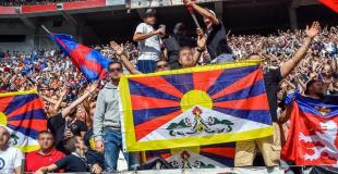 Lyon fans with support choreo for Tibet